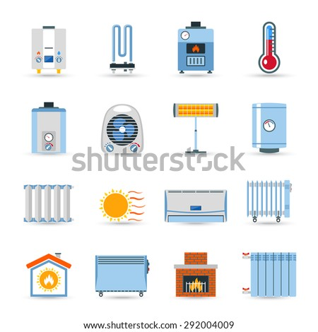 Heating devices boilers radiators and emitter or fireplace flat color icon set isolated vector illustration - stock vector