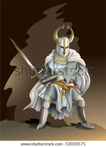 Heavy armored Crusader, Knight of Order, with a sword in his hands, vector illustration with mesh gradient - stock vector