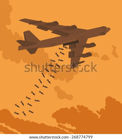 Heavy bomber dropped the bombs against the sunset. Illustration suitable for advertising and promotion - stock vector