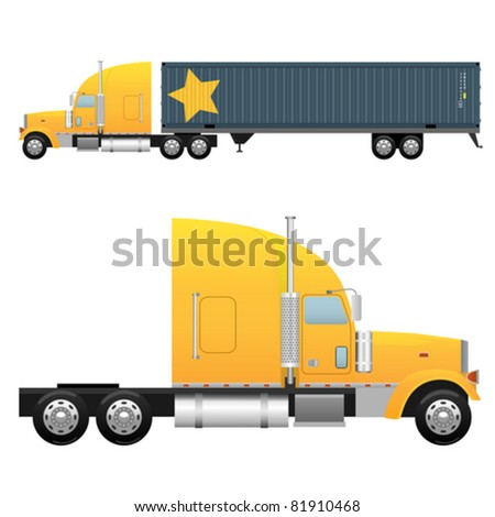 Heavy cargo truck for a international transportation (vector illustration isolated on white background)