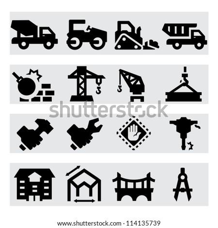 Heavy construction icons - stock vector