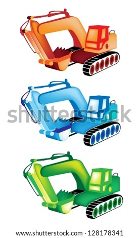 Heavy Construction Machine, An Illustration Collection of Orange, Blue And Green Excavator or Bulldozer on White Background