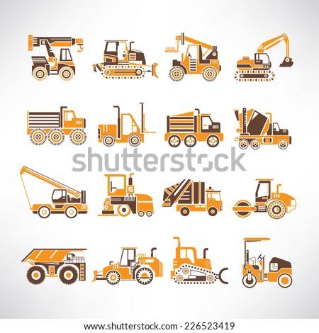 heavy equipment icons set - stock vector