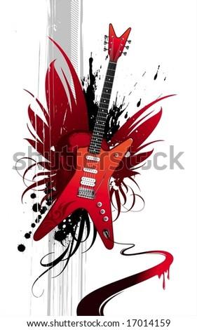 Heavy guitar - stock vector