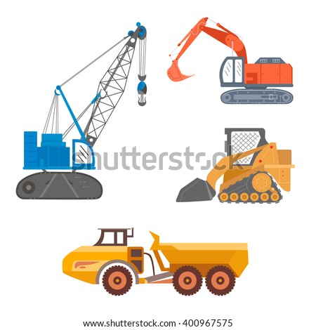 Heavy industry construction crane, articulated truck, excavator, compact track loader. Vector illustration of mining machinery, equipment isolated on white. Transportation icons, silhouettes.