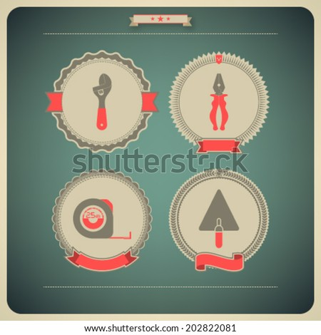 Heavy industry theme - construction site tools -   Adjustable wrench, Lineman's pliers, Tape measure, Trowel.  - stock vector