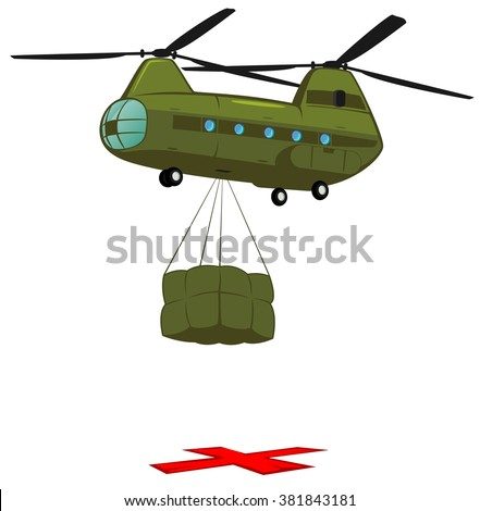 heavy military transport helicopter delivers cargo. vector illustration of army supply unit