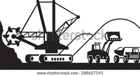 Heavy mining machinery - vector illustration