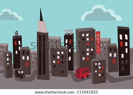 Heavy polluted capital city - stock vector