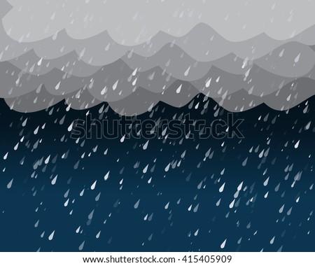 Heavy rain in dark sky, vector background - stock vector