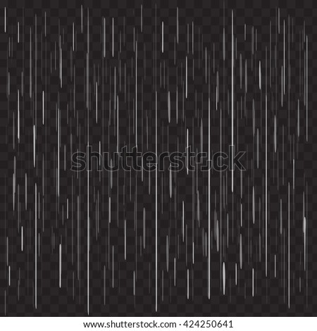Heavy rain vector on black transparent background. Realistic rain drops concept. Rainy day background. Grey gray rain drops on black. Vector rain isolated on black transparent background. - stock vector