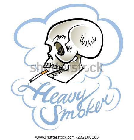 Heavy smoker - human skull with cigarette - stock vector