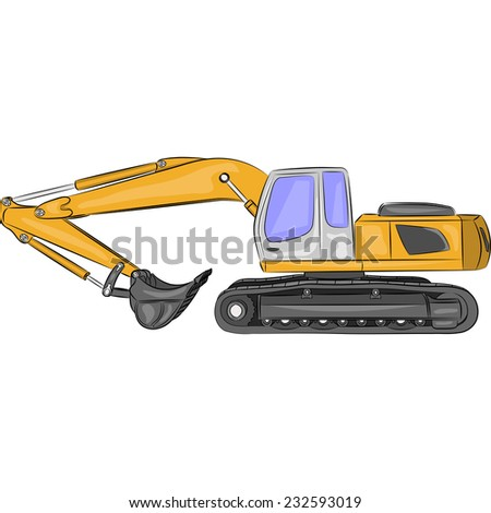 heavy tracked excavator with bucket isolated on white background