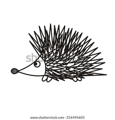 Hedgehog cute cartoon vector illustration - stock vector