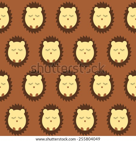 hedgehog seamless pattern - stock vector