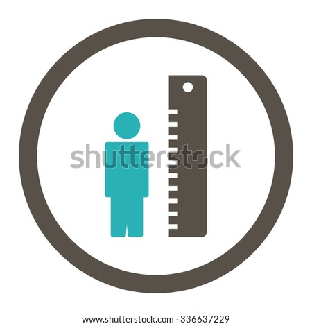 Height Meter vector icon. Style is bicolor flat rounded symbol, grey and cyan colors, rounded angles, white background.