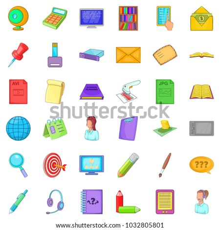 Held post icons set. Cartoon set of 36 held post vector icons for web isolated on white background