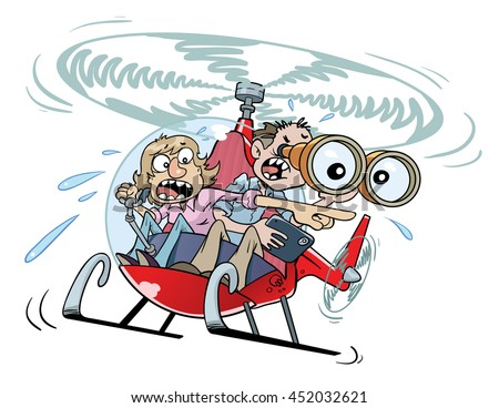 Helicopter Parents  A couple of anguished parents buzz around in their private helicopter.  - stock vector
