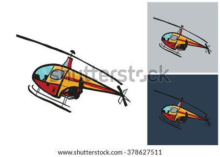Helicopter vector image. Picture with helicopter. Symbolic helicopter. Vector helicopter for logo. Label with helicopter. Beautiful helicopter. Cute helicopter. - stock vector