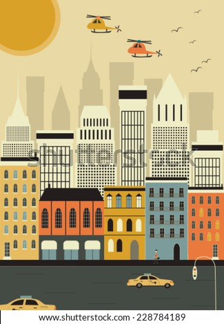 Helicopters over the New York city. Vector - stock vector