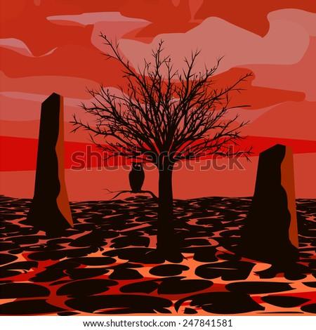 Hell Lava park - stock vector