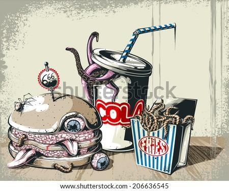 Hell's breakfast - stock vector
