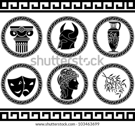 hellenic buttons. stencil. fifth variant. vector illustration - stock vector