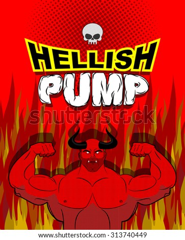 Hellish pump. Satan bodybuilder with huge muscles. Workout with the devil in purgatory. Red athlete with large horns. Gym in Gehenna fire. Devilish pumping muscle. Vector illustration - stock vector