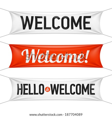 Hello and Welcome banners. Vector. - stock vector