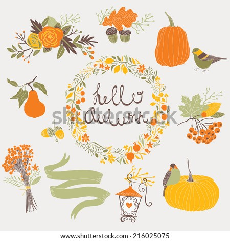 Hello Autumn - stock vector