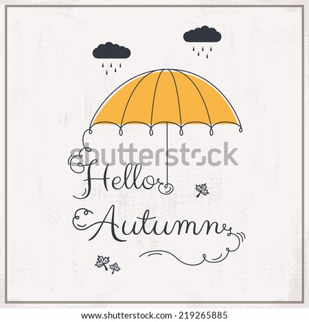 Hello Autumn background with typography - stock vector