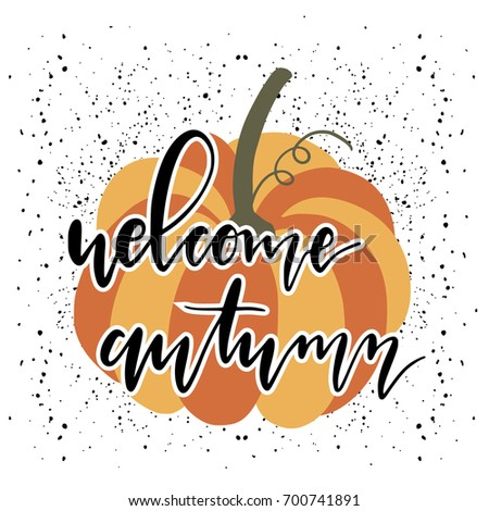 Nice Hello Autumn Card With Pumpkin And Lettering. Itu0027 Fall Yu0027all. Hand
