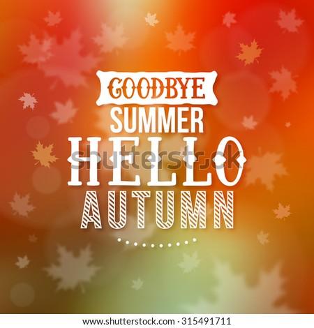 Hello Autumn illustration - stock vector