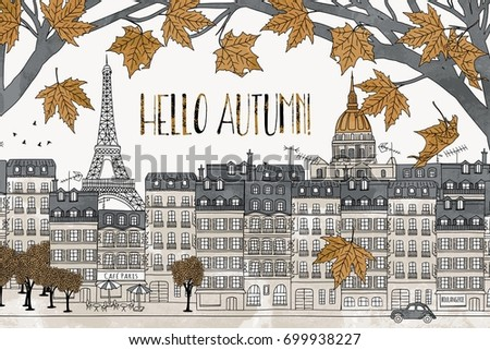 Delicieux Hello Autumn In Paris   Hand Drawn Colorful Illustration Of The City With  Eiffel Tower And