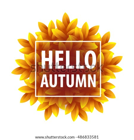Hello Autumn vector banner.