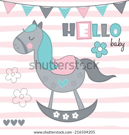 hello baby rocking horse vector illustration - stock vector