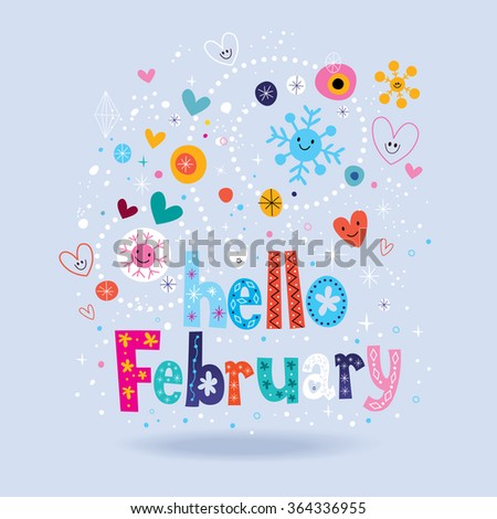 Hello February - stock vector