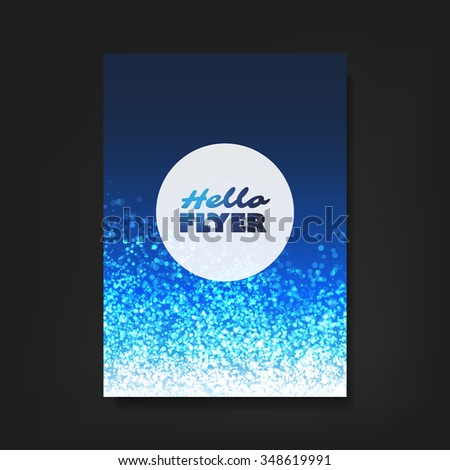 Hello Flyer - Flyer, Card or Cover Design with Blue Sparkling Patter Background - Party, Corporate Identity, Christmas, New Year or Ad Design Template - stock vector