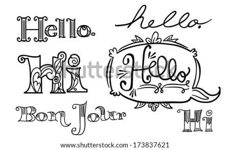 Hello Hello Hand rendered typography - stock vector
