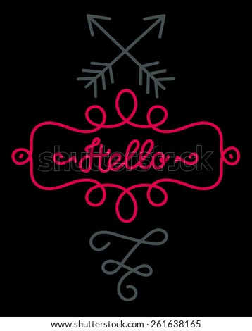 Hello Lettering. Vintage Type Illustration - stock vector