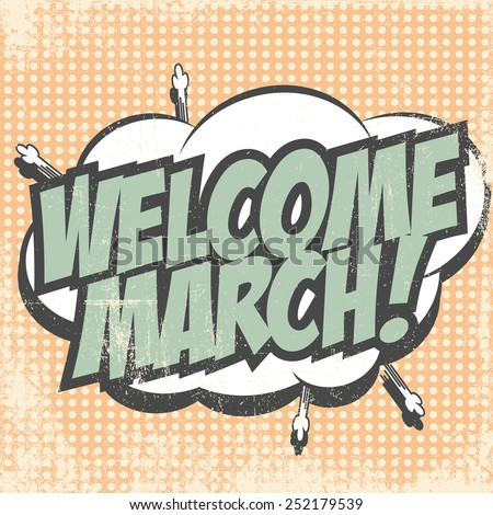 hello march card, illustration in vector format  - stock vector