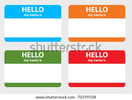 Hello my name card - stock vector