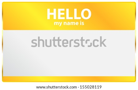 Hello My Name Is Card - stock vector