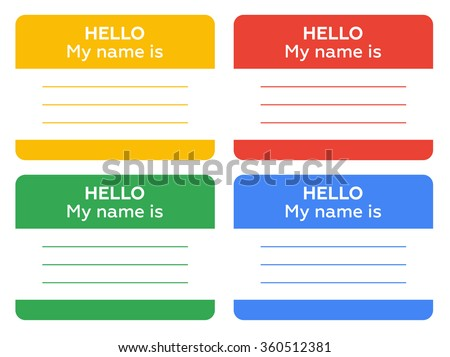 hello my name is sign with blank white copyspace for text message - stock vector