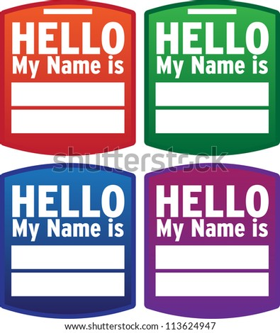 Hello Name Tag - Vector