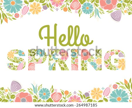 Hello Spring Flowers Text Background - stock vector