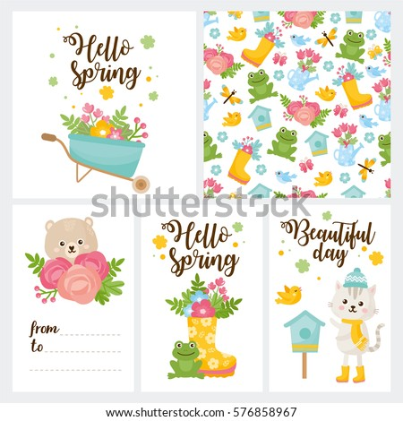Hello Spring Greeting Card. Cute Illustration With Spring Bouquet In A  Boots, Little Frog
