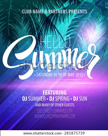 Hello Summer Beach Party Flyer. Vector Design EPS 10 - stock vector