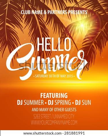 Hello Summer Beach Party Flyer Vector Stock-vektorgrafik 281881991 ...