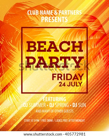 Hello Summer Beach Party Flyer. Vector Design EPS10 - stock vector